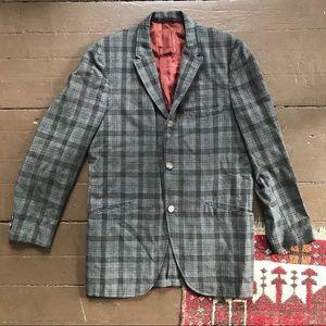 Vintage 60s wool great plaid three button blazer